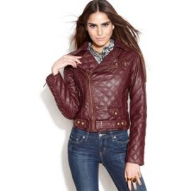 Quilted Faux-Leather Motorcycle Jacket by Bar lll at Macys