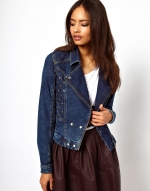 Quilted denim biker jacket at Asos