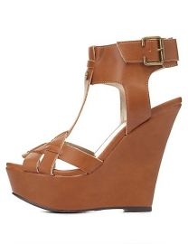 Qupic Tstrap wedges at Charlotte Russe