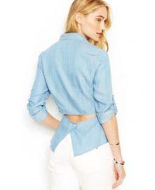 RACHEL Rachel Roy Cutout Denim Shirt in Dark Wash at Macys