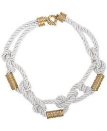 RACHEL Rachel Roy Gold-Tone White Nylon Knotted Collar Necklace at Macys