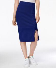 RACHEL Rachel Roy Lace-Up Sweater Skirt in Blue at Macys