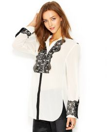 RACHEL Rachel Roy Long-Sleeve Lace-Overlay Tuxedo Blouse at Macys
