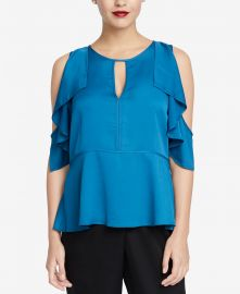 RACHEL Rachel Roy Ruffled Cold-Shoulder Top at Macys