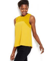 RACHEL Rachel Roy Sleeveless Semi-Sheer Yoke Side-Zip Blouse - Tops - Women - Macys at Macys