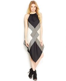 RACHEL Rachel Roy Square-Print Halter-Neck Scarf Dress at Macys
