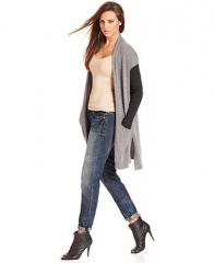 RACHEL Rachel Roy Sweater Long-Sleeve Colorblocked Cardigan - Sweaters - Women - Macys at Macys