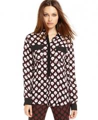 RACHEL Rachel Roy Top Long Sleeve Printed Blouse - Women - Macys at Macys