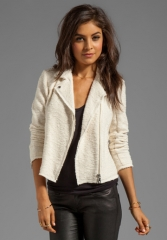 REBECCA TAYLOR Boucle Moto Jacket in Cream at Revolve