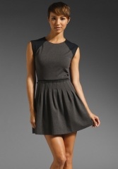 REBECCA TAYLOR Cap Sleeve Ponte Dress in Dark Melange Grey - All at Revolve