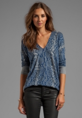 REBECCA TAYLOR Snake Printed V-Neck Sweater in Armoir Combo at Revolve