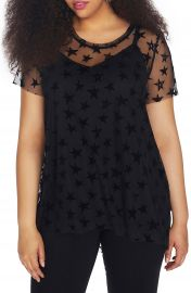 REBEL WILSON X ANGELS Star Print Mesh Overlay Top  Plus Size at Nordstrom