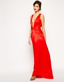 RED CARPET Premium Super Plunge Twist Front Maxi Dress at Asos
