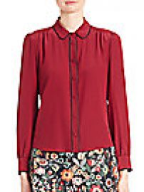 RED Valentino - Silk Pleated Button Blouse at Saks Fifth Avenue