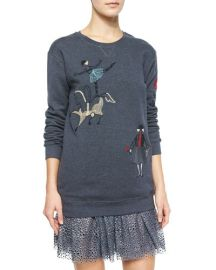 RED Valentino Circus Embroidered Sweatshirt at Neiman Marcus