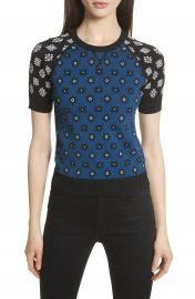 RED Valentino Contrast Sleeve Floral Print Sweater at Nordstrom