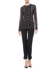 RED Valentino Dotted Pleat-Front Blouse and Tech Cady Bow Ankle Pants at Neiman Marcus