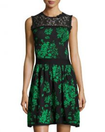 RED Valentino Floral Jacquard Lace-Yoke Dress GreenBlack at Last Call