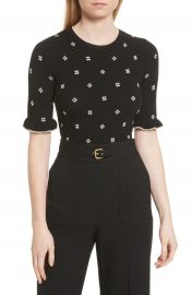 RED Valentino Flower Intarsia Knit Top at Nordstrom