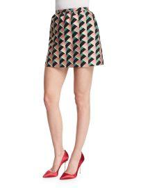RED Valentino Geometric-Print Jacquard Skirt  Pink at Neiman Marcus