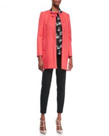RED Valentino Hidden Placket Scuba Topper with Bow DetailLong-Sleeve Swan-Print Blouse and Cady Tech Ankle Zip Leggings at Neiman Marcus