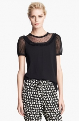 RED Valentino Lace Inset Jersey Tee at Nordstrom