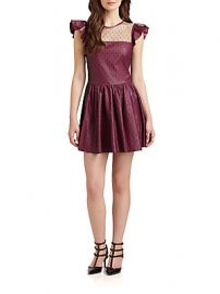 RED Valentino Lace Overlay Leather Dress at Saks Off 5th