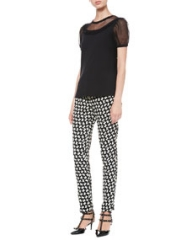 RED Valentino Point DEsprit-Sleeve Tee and Bow-Print Ankle Pants at Neiman Marcus