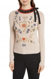 RED Valentino Printed Wool   Angora Blend Sweater at Nordstrom