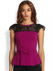 RED Valentino lace peplum top at Saks Fifth Avenue