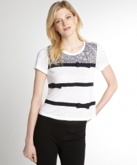 RED Valentino white and black lace top at Bluefly