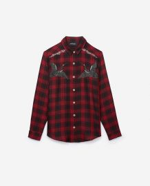RED WOVEN CHECKED SHIRT WITH EMBROIDERED STORKS at The Kooples