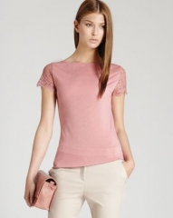 REISS T Shirt - Dixy Lace Sleeve at Bloomingdales