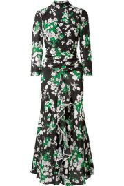 RIXO London   Lucy ruffled floral-print silk crepe de chine midi dress at Net A Porter