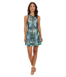 ROMEO andamp JULIET COUTURE Printed Scuba Dress Blue Paisley at 6pm