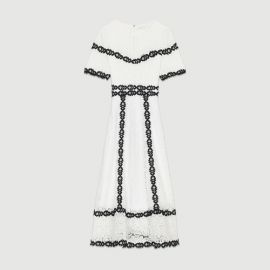 ROWAN Long dress in bicolored lace at Maje