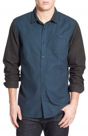 RVCA  Two Tone  Colorblock Twill Woven Shirt at Nordstrom
