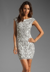 RVN Phoenix Embroidery Jacquard Dress in Sliver LurexWhite at Revolve