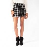 Rachel Berrys black and white check skirt on Glee at Forever 21