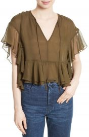 Rachel Comey Floater Ruffle Silk Top at Nordstrom