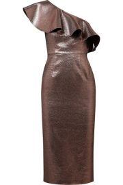 Rachel Zoe   Tabitha ruffled one-shoulder metallic jacquard midi dress at Net A Porter