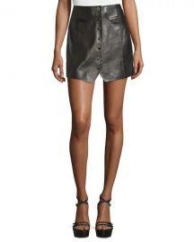 Rachel Zoe Danae Leather Button-Front Miniskirt at Neiman Marcus