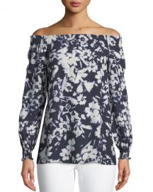 Raelyn Off-the-Shoulder Floral-Print Blouse by Lafayette 148 New York at Last Call