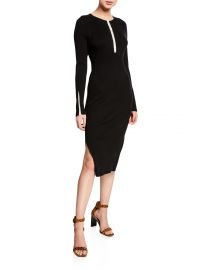 Rag  amp  Bone Brynn Ribbed Long-Sleeve Hook-Front Dress at Neiman Marcus