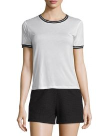 Rag   Bone Stevie Tipped Jersey Tee  Blanc at Neiman Marcus
