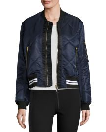 Rag   Bone Vine Zip-Front Quilted Bomber Jacket  Black at Neiman Marcus