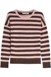 Rag  amp  Bone - Striped Metallic Pullover at Stylebop