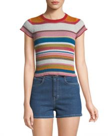 Rag  amp  Bone Katie Striped Short-Sleeve Cropped Tee at Neiman Marcus