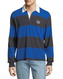 Rag  amp  Bone Men  x27 s Rugby Polo Shirt with Dagger Embroidery at Neiman Marcus