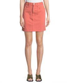 Rag  amp  Bone Moss Denim Mini Skirt with Raw-Edge Hem at Neiman Marcus
